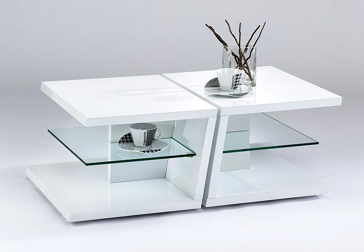 couchtisch twin tisch beistelltisch 2 tlg in weiss hochglanz lack und glas 60x45 ebay. Black Bedroom Furniture Sets. Home Design Ideas