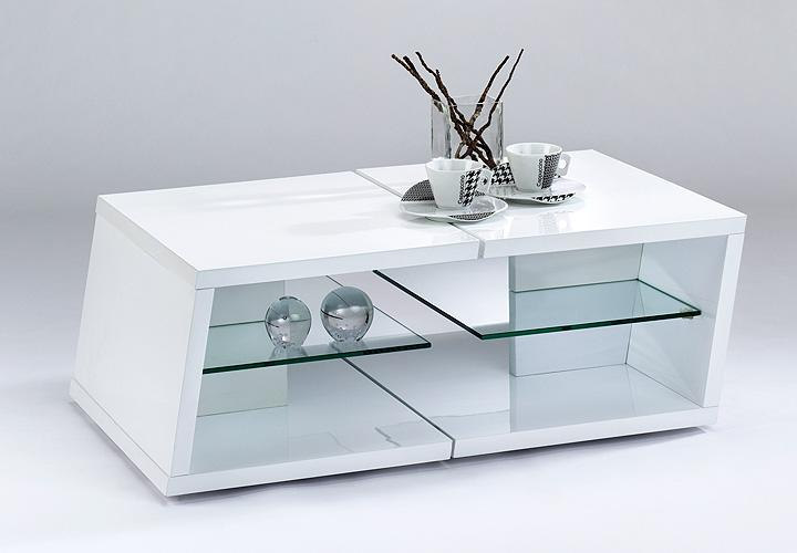 TWIN Couchtisch 60 x 45 Weiss Hochglanz Lack und Glas
