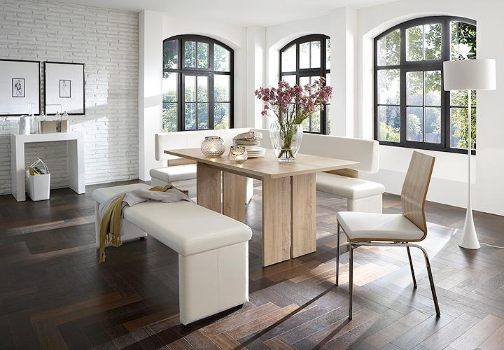 tischgruppe charlotte tisch bank stuhl wei und sonoma eiche s gerau 140 rechts ebay. Black Bedroom Furniture Sets. Home Design Ideas