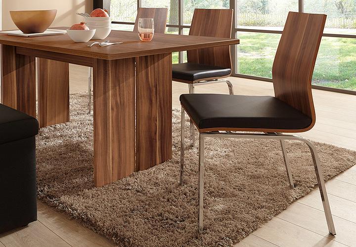 4er set stuhl charlotte esszimmerstuhl in schwarz und walnuss vierfu verchromt ebay. Black Bedroom Furniture Sets. Home Design Ideas