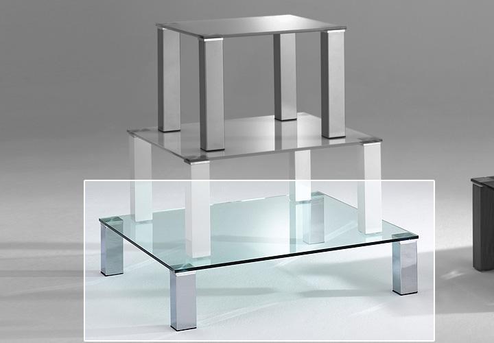 Couchtisch callas glas klar und metall chrom 100x100 h 20 for Couchtisch 100x100