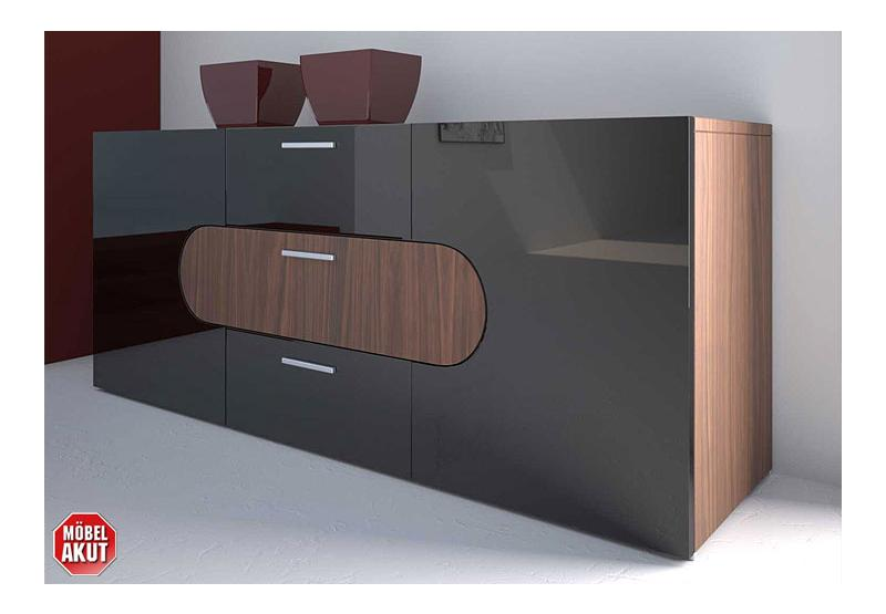sideboard caro kommode schwarz hochglanz lackiert ebay. Black Bedroom Furniture Sets. Home Design Ideas