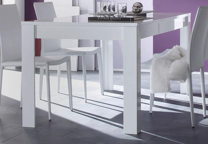 EOS Esstisch 160x90 Weiß echt Hochglanz lackiert