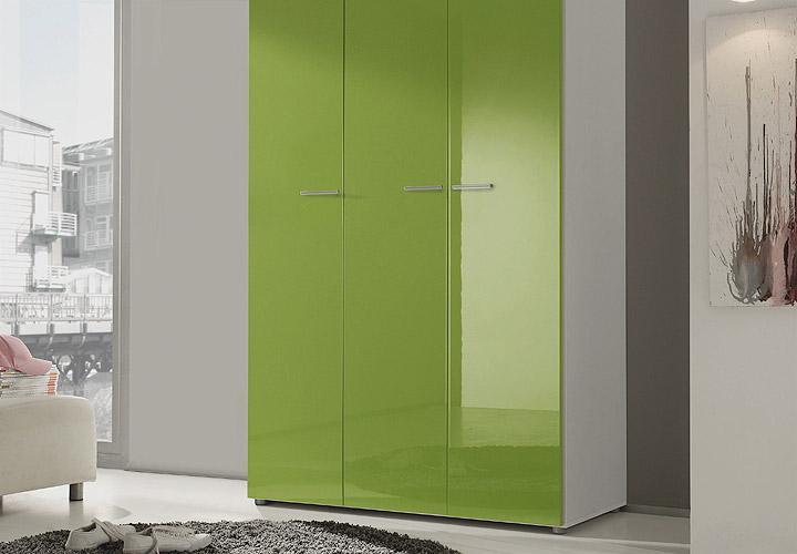 kleiderschrank smart kiwi gr n hochglanz wei 120 cm. Black Bedroom Furniture Sets. Home Design Ideas