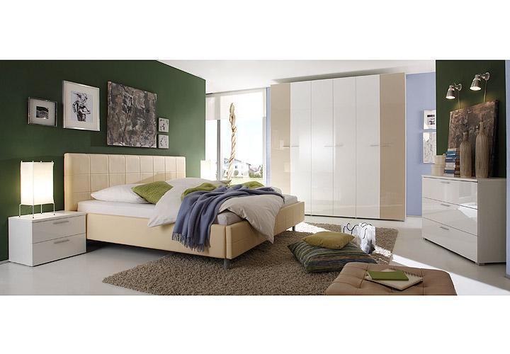 schlafzimmer smart schlafzimmerset in wei sand hochglanz. Black Bedroom Furniture Sets. Home Design Ideas