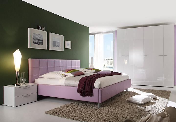 Schlafzimmer SMART Schlafzimmerset in weiß lila hochglanz