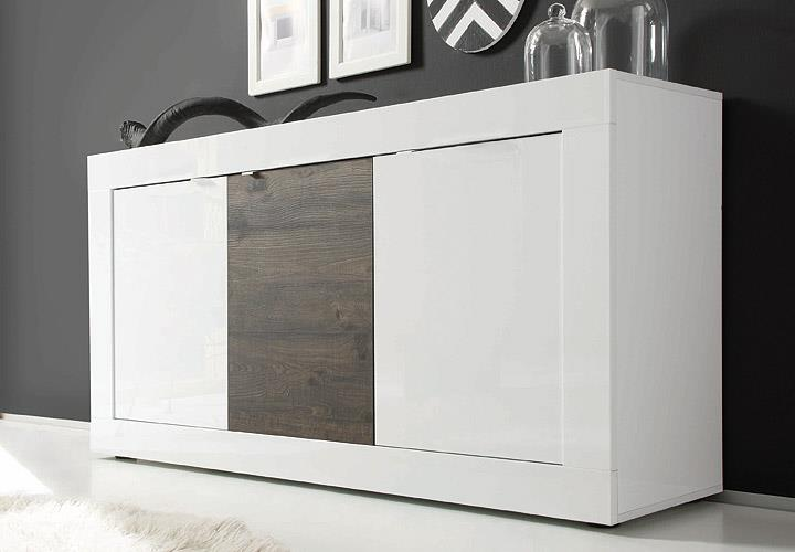 sideboard basic wei lackiert und eiche wenge b 160 cm. Black Bedroom Furniture Sets. Home Design Ideas