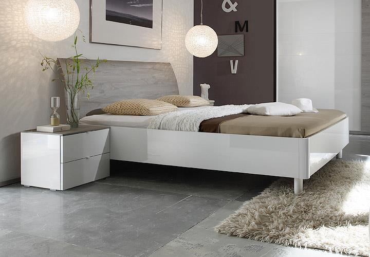 bettanlage tambura wei lack eiche grau 180x200 cm. Black Bedroom Furniture Sets. Home Design Ideas