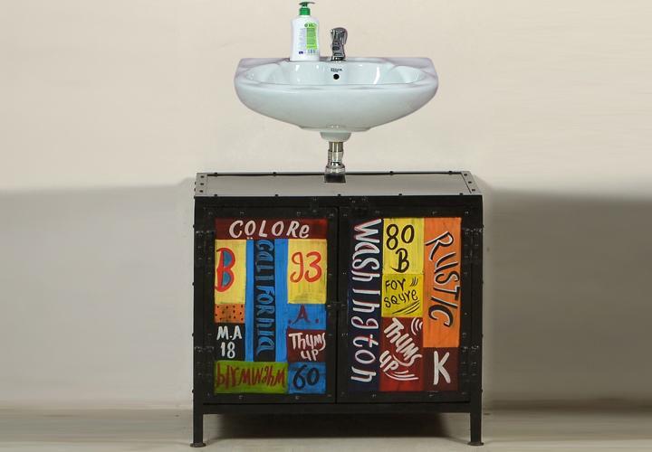 unterschrank colore bad metall handbemalt vintage look. Black Bedroom Furniture Sets. Home Design Ideas