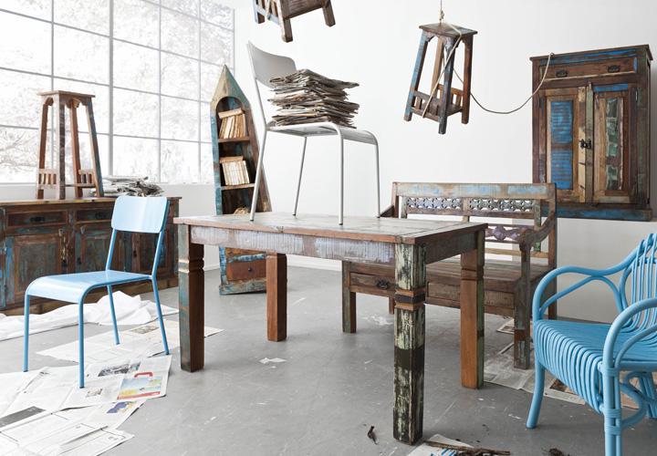 Tisch RIVERBOAT echtes Altholz 140 x 70 cm