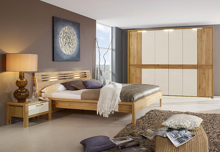 schlafzimmer set mena wildeiche teilmassiv creme hochglanz. Black Bedroom Furniture Sets. Home Design Ideas