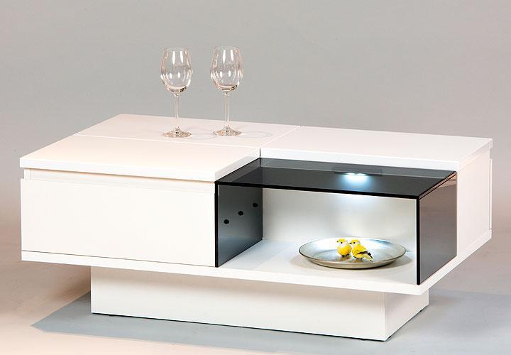 couchtisch dual tisch in wei hochglanz mit beleuchtung neu ebay. Black Bedroom Furniture Sets. Home Design Ideas