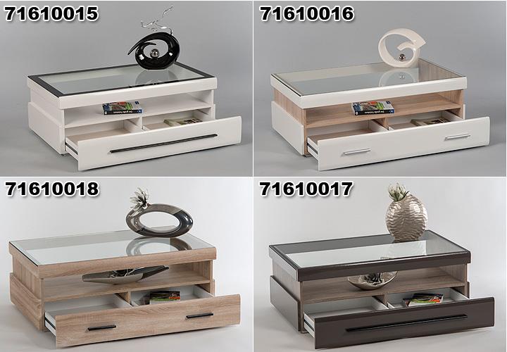 Couchtisch Gitte Tisch in weiß und Sonoma Eiche Glasplatte  -> Couchtisch Weiß Eiche Sonoma