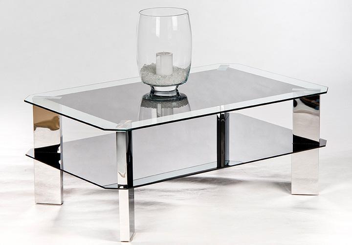couchtisch alena tisch glasplatte schwarz beine edelstahloptik neu ebay. Black Bedroom Furniture Sets. Home Design Ideas