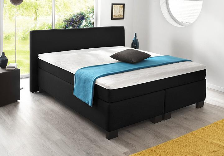 boxspringbett bx 290 schwarz stoff 180x200. Black Bedroom Furniture Sets. Home Design Ideas