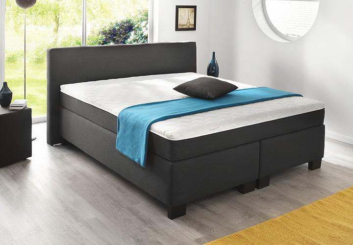 boxspringbett bx 290 schlafzimmerbett in anthrazit 140x200. Black Bedroom Furniture Sets. Home Design Ideas