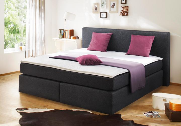 boxspringbett bx420 schlafzimmerbett in anthrazit 140x200. Black Bedroom Furniture Sets. Home Design Ideas