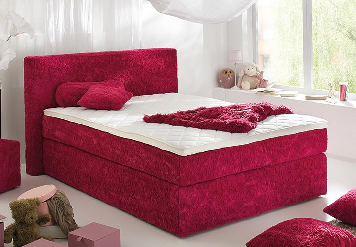boxspringbett bx430 schlafzimmerbett zottel in rot 140x200. Black Bedroom Furniture Sets. Home Design Ideas