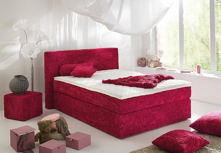 boxspringbett bx430 schlafzimmerbett zottel in rot 140x200. Black Bedroom Furniture Sets. Home Design Ideas