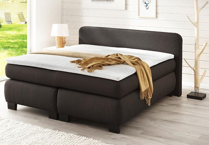 boxspringbett bx 300 bett schlafzimmerbett bonell federkern anthrazit 180x200 ebay. Black Bedroom Furniture Sets. Home Design Ideas