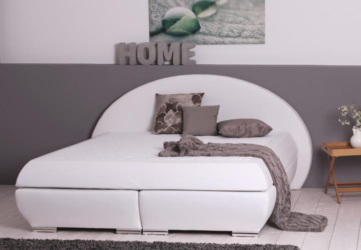 boxspringbett bx750 wei mit kopfteil liegefl che 180x200cm. Black Bedroom Furniture Sets. Home Design Ideas