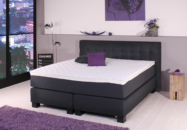 boxspringbett bx650 anthrazit 7 zonen tfk matratze 180x200cm. Black Bedroom Furniture Sets. Home Design Ideas