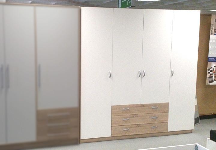 trier kleiderschrank 4 t rig weiss eiche sonoma s gerau. Black Bedroom Furniture Sets. Home Design Ideas