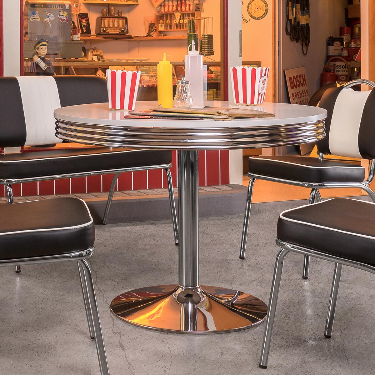 esstisch elvis tisch bistrotisch edelstahl wei 100 american diner 50er jahre ebay. Black Bedroom Furniture Sets. Home Design Ideas