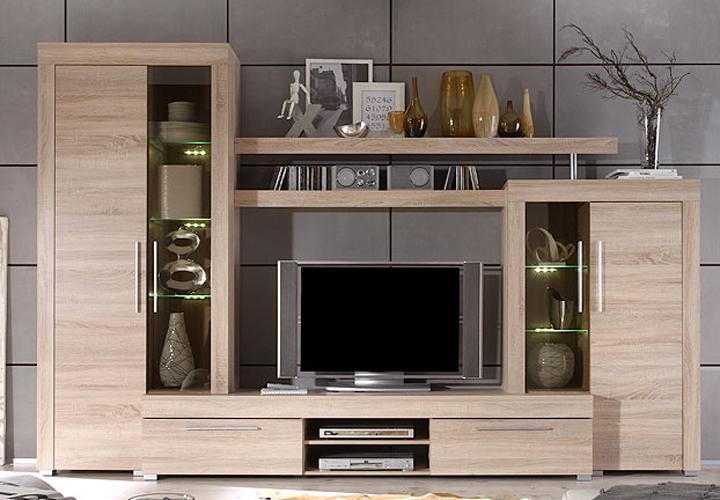 wohnwand boom sonoma eiche s gerau hell mit beleuchtung. Black Bedroom Furniture Sets. Home Design Ideas