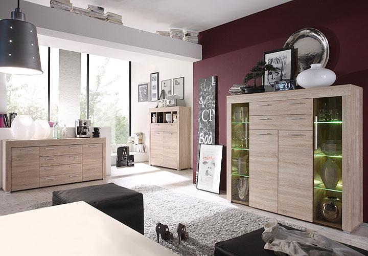 highboard boom sonoma eiche s gerau hell inkl led. Black Bedroom Furniture Sets. Home Design Ideas