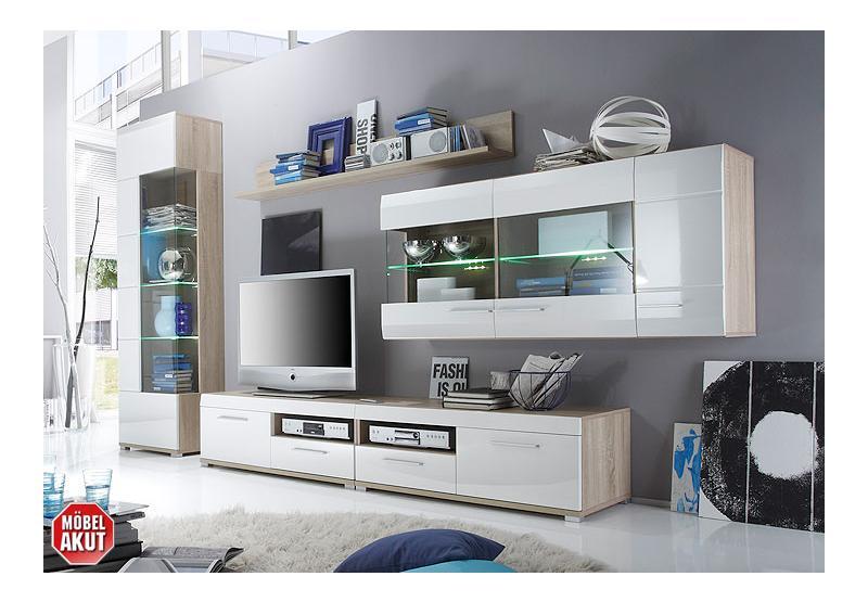 wohnwand wali anbauwand wei hochglanz eiche sonoma. Black Bedroom Furniture Sets. Home Design Ideas