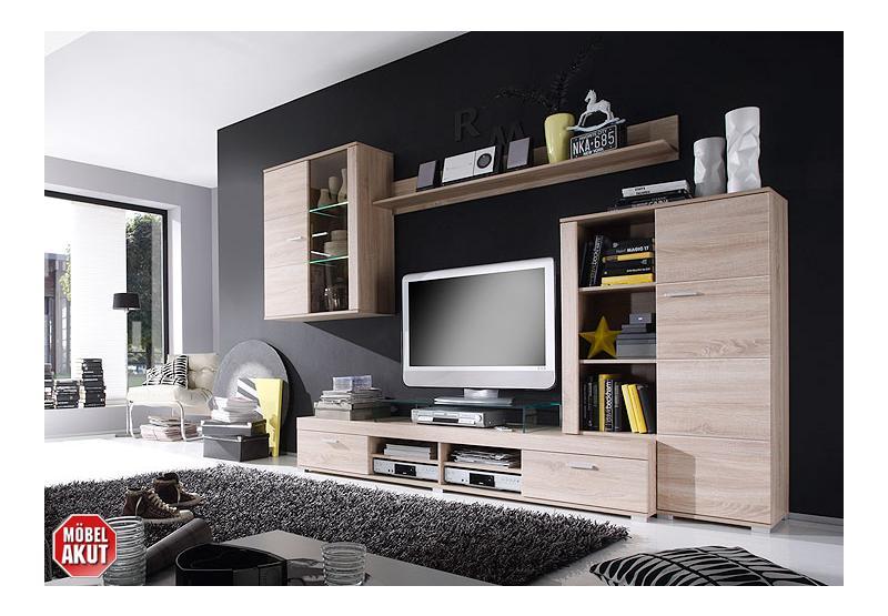 wohnwand trey anbauwand wohnzimmer sonoma eiche s gerau inkl led ebay. Black Bedroom Furniture Sets. Home Design Ideas