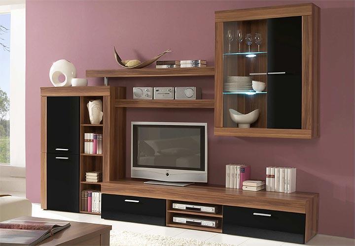 wohnwand formo anbauwand wohnzimmer in nussbaum schwarz glanz ebay. Black Bedroom Furniture Sets. Home Design Ideas
