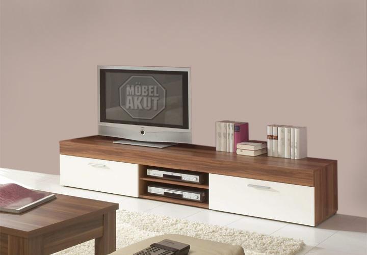TV BOARD FORMO LOWBOARD MEDIA MÖBEL IN NUSSBAUM UND WEIß eBay