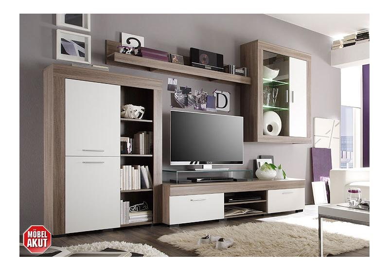 essah wohnwand sonoma eiche s gerau wei inkl beleuchtung. Black Bedroom Furniture Sets. Home Design Ideas