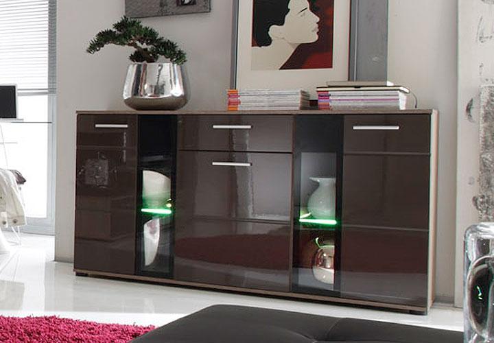 sideboard raida sonoma eiche s gerau braun hochglanz schwarz inkl beleuchtung ebay. Black Bedroom Furniture Sets. Home Design Ideas