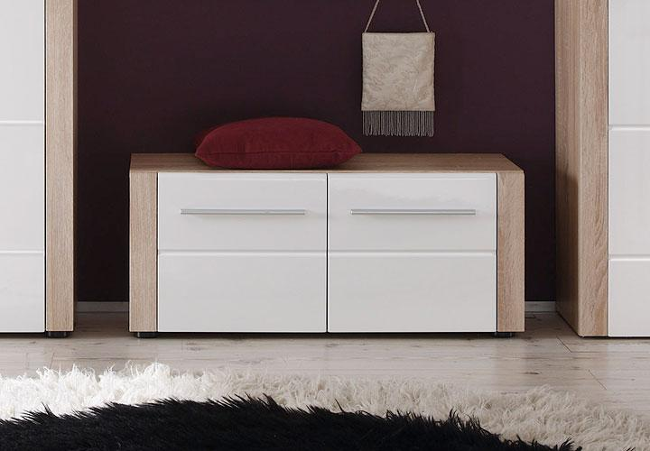 sitzbank tila garderobe unterteil kommode sonoma eiche s gerau wei hochglanz ebay. Black Bedroom Furniture Sets. Home Design Ideas