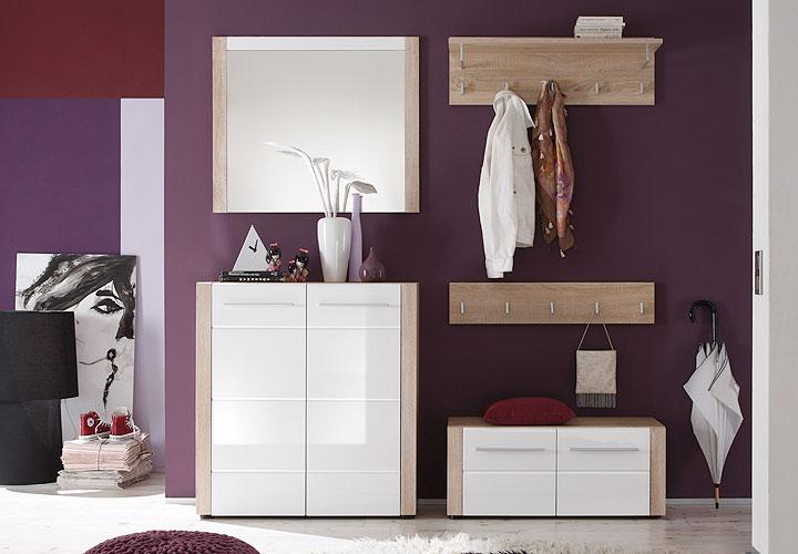 garderobenset ii tila garderobe schuhschrank sonoma eiche s gerau wei hochglanz ebay. Black Bedroom Furniture Sets. Home Design Ideas