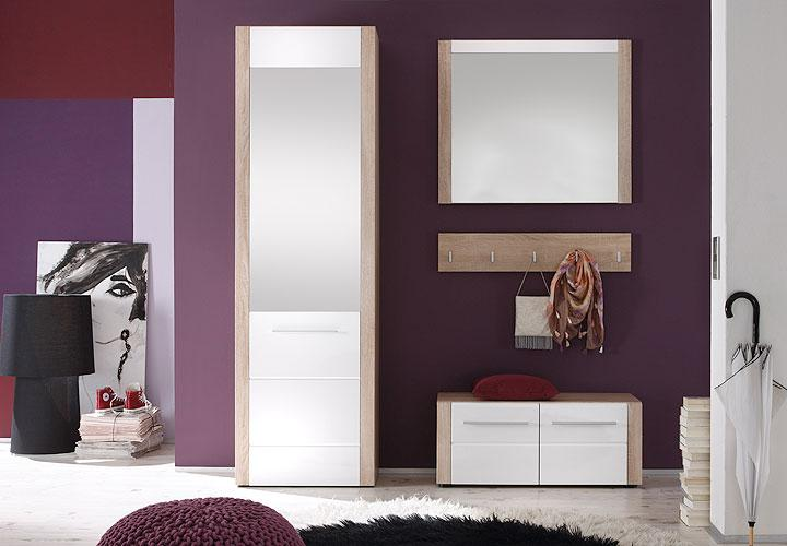 garderobenset iv tila garderobe schuhschrank sonoma eiche s gerau wei hochglanz ebay. Black Bedroom Furniture Sets. Home Design Ideas