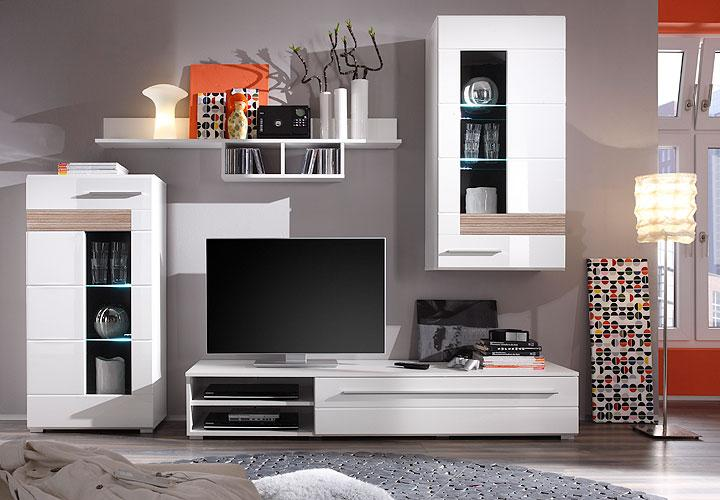 wohnwand i mezzo wei hochglanz sonoma eiche s gerau led. Black Bedroom Furniture Sets. Home Design Ideas