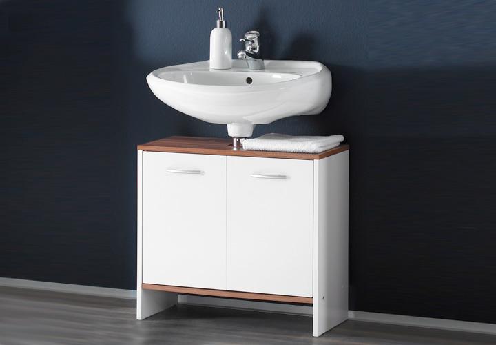 waschbeckenunterschrank viola wei und nussbaum. Black Bedroom Furniture Sets. Home Design Ideas