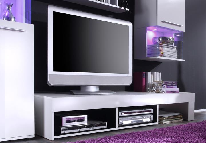 wohnwand punch i anbauwand in wei glanz und schwarz. Black Bedroom Furniture Sets. Home Design Ideas