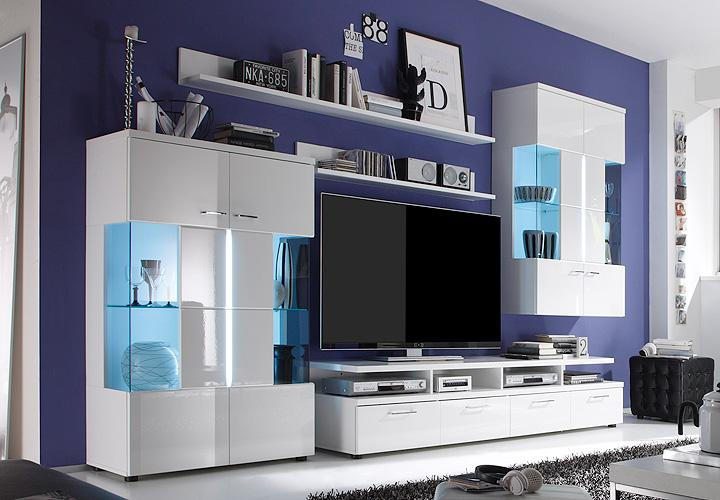 wohnwand 1 nightlife wei hochglanz glas grau inkl led. Black Bedroom Furniture Sets. Home Design Ideas