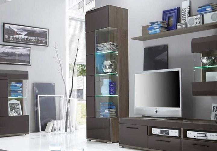 vitrine lounge hochglanz schlamm und sonoma eiche dunkel. Black Bedroom Furniture Sets. Home Design Ideas