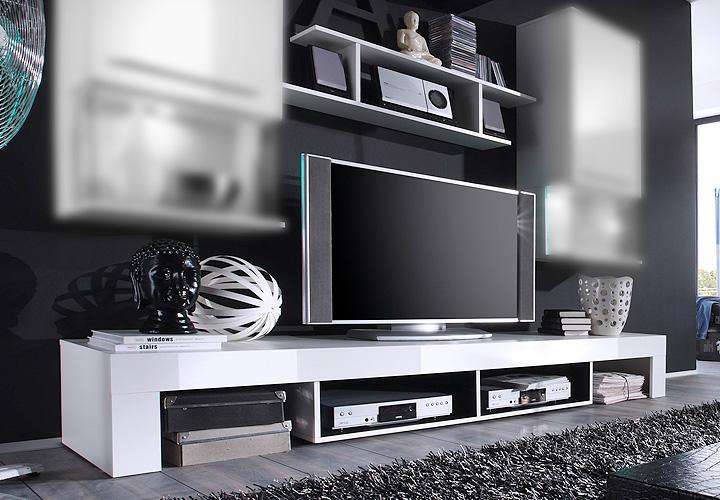 tv unterteil und wandboard punch wei glanz und. Black Bedroom Furniture Sets. Home Design Ideas