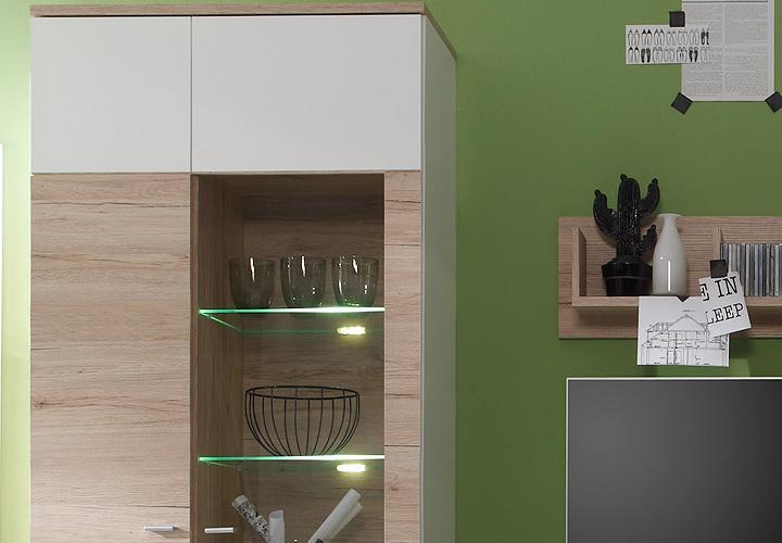 wohnwand campus anbauwand in san remo eiche und wei. Black Bedroom Furniture Sets. Home Design Ideas