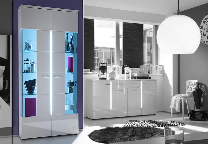 vitrine nightlife wei hochglanz glas grau inkl led. Black Bedroom Furniture Sets. Home Design Ideas