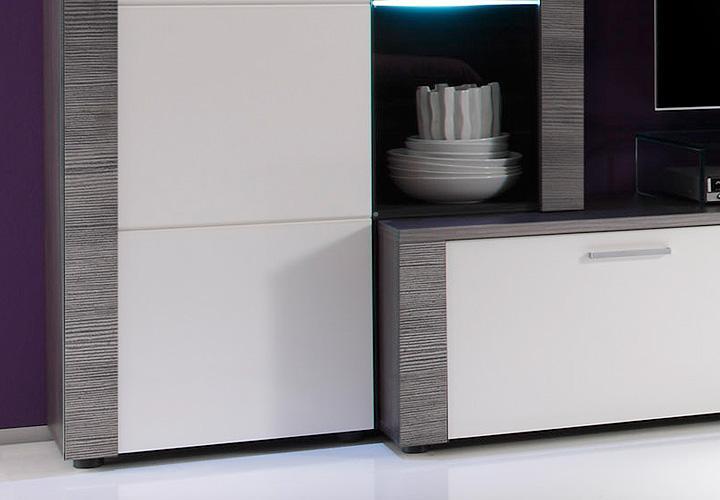 Wohnzimmer skandinavisch wohnen wohnzimmer : Wohnwand XPRESS Esche Grau/ Weiß inkl. Beleuchtung