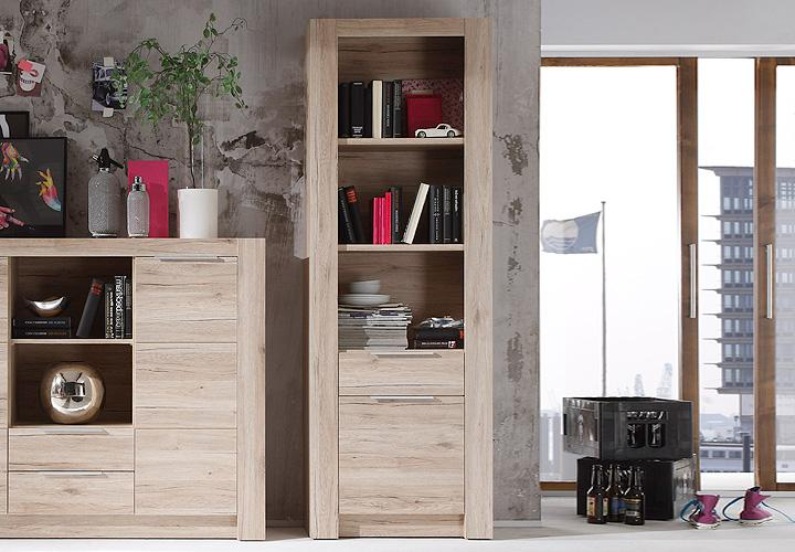 regal cougar b cherregal schrank wandschrank in san remo eiche hell ebay. Black Bedroom Furniture Sets. Home Design Ideas