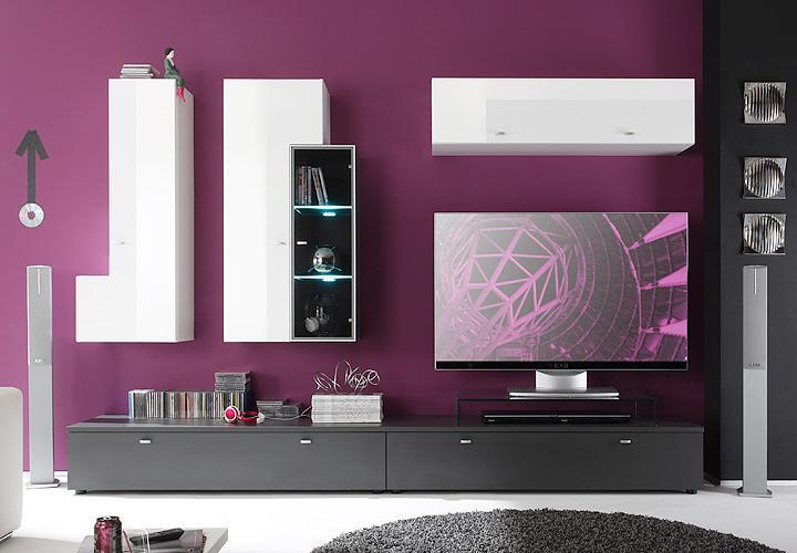 wohnwand 2 tetis anbauwand wei hochglanz tiefzieh und graphit inkl beleuchtung ebay. Black Bedroom Furniture Sets. Home Design Ideas